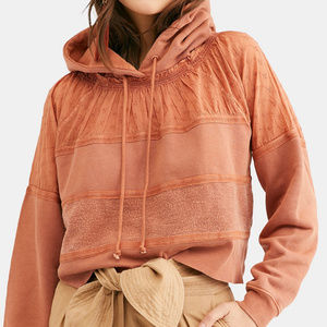 NWT Free People Piper Pullover  Cropped Hood  Med